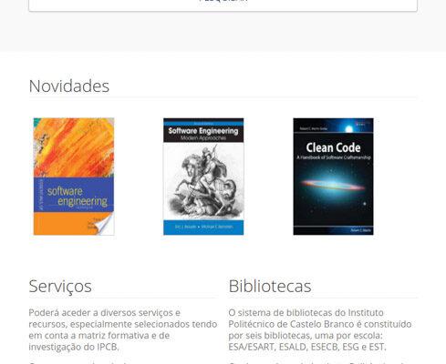 Bibliotecas Instituto Politécnico de Castelo Branco catálogo - mobile